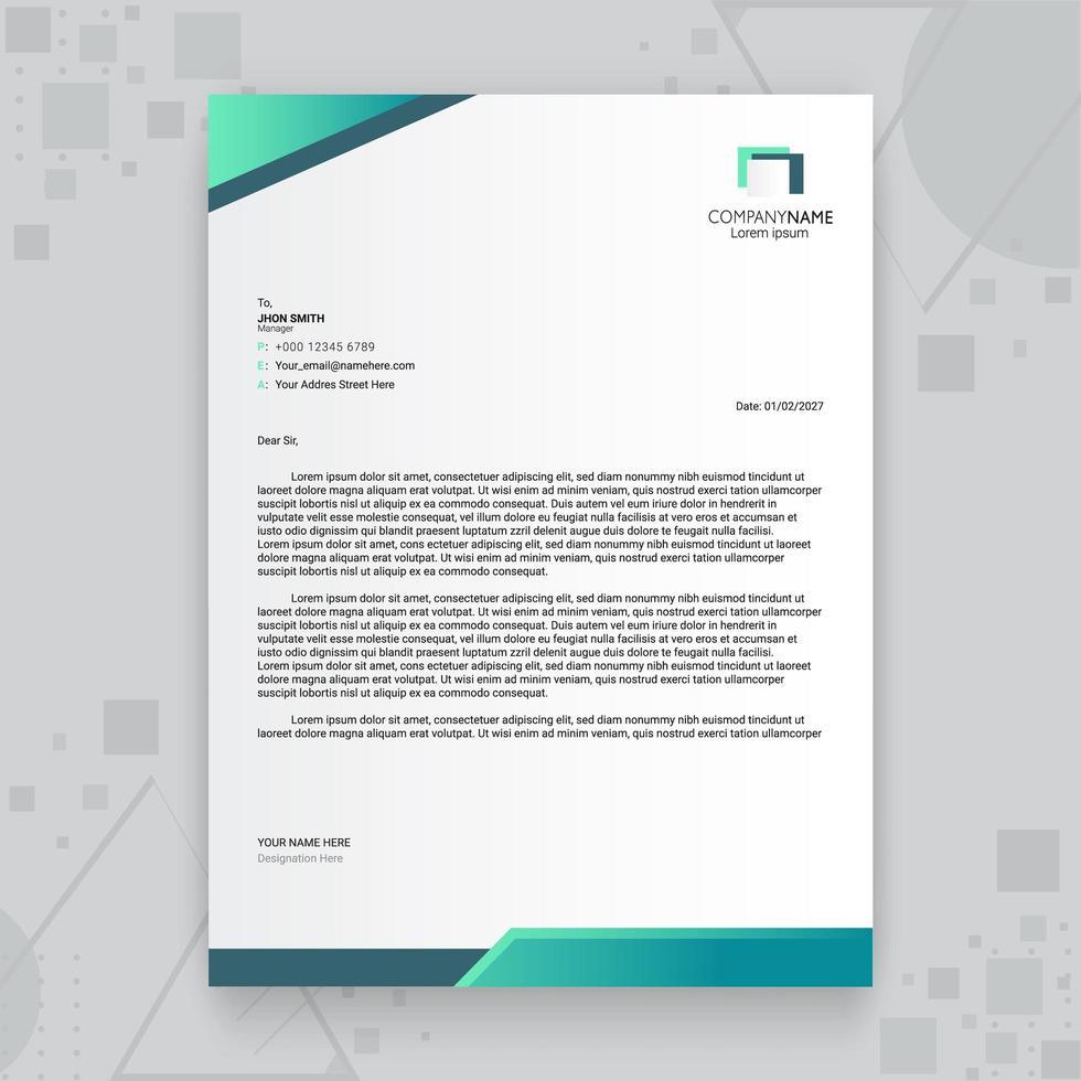 grön lutning kreativa företag brevpapper mall vektor