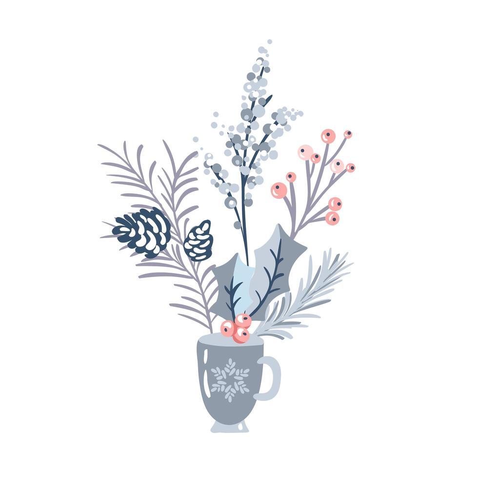 vinterbukett med blommor och tallgrenar vektor