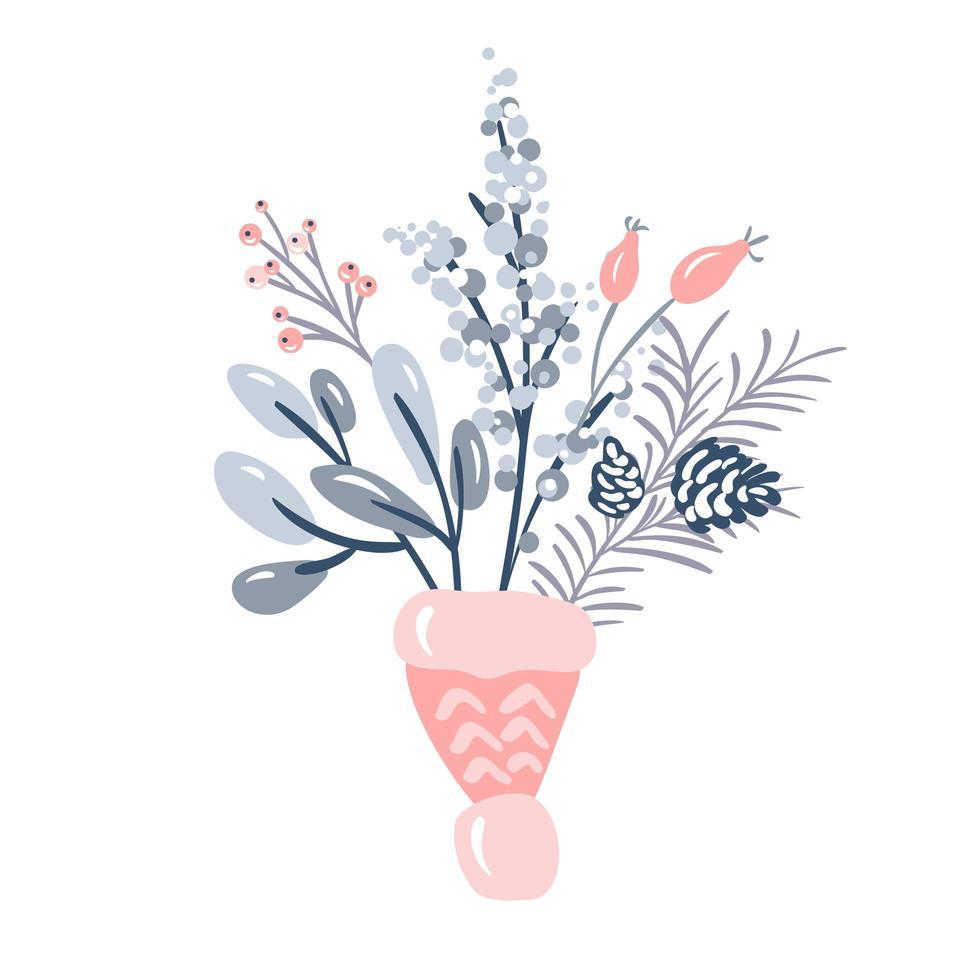 julbukett med blommor och tallgrenar vektor
