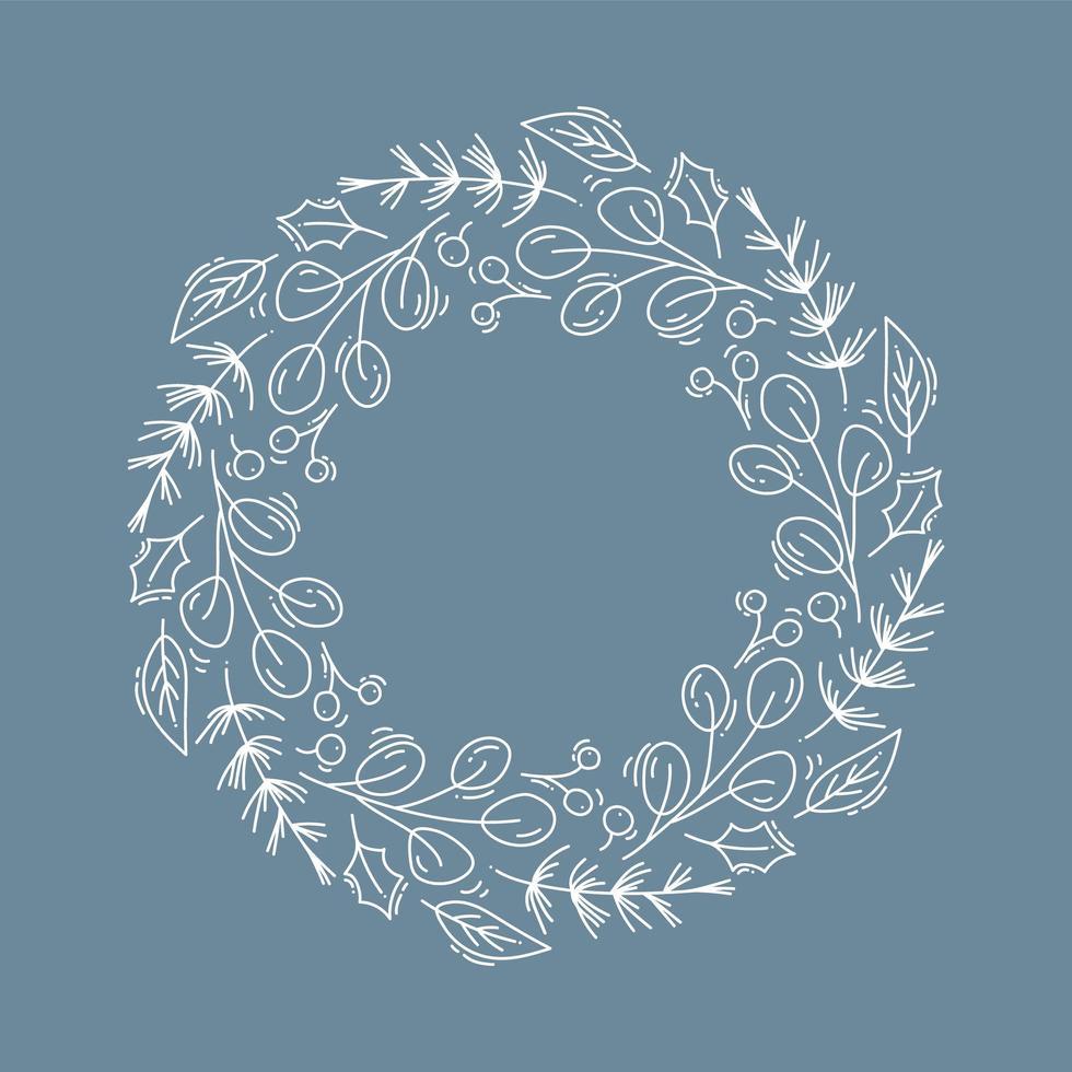 Weihnachtskranz Umriss mit Zweigen und Stechpalme vektor
