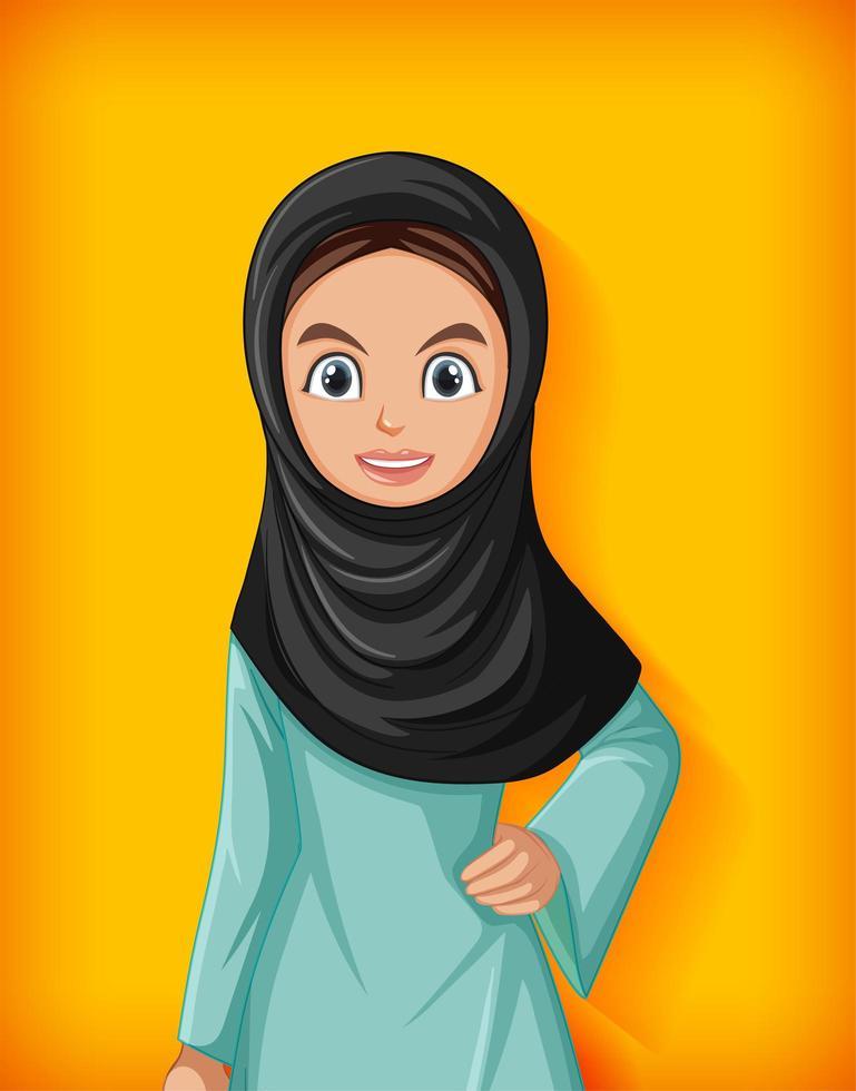 vacker arabisk dam seriefigur vektor