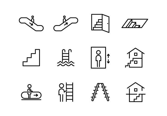 Trappor och Gateway ikoner vektor