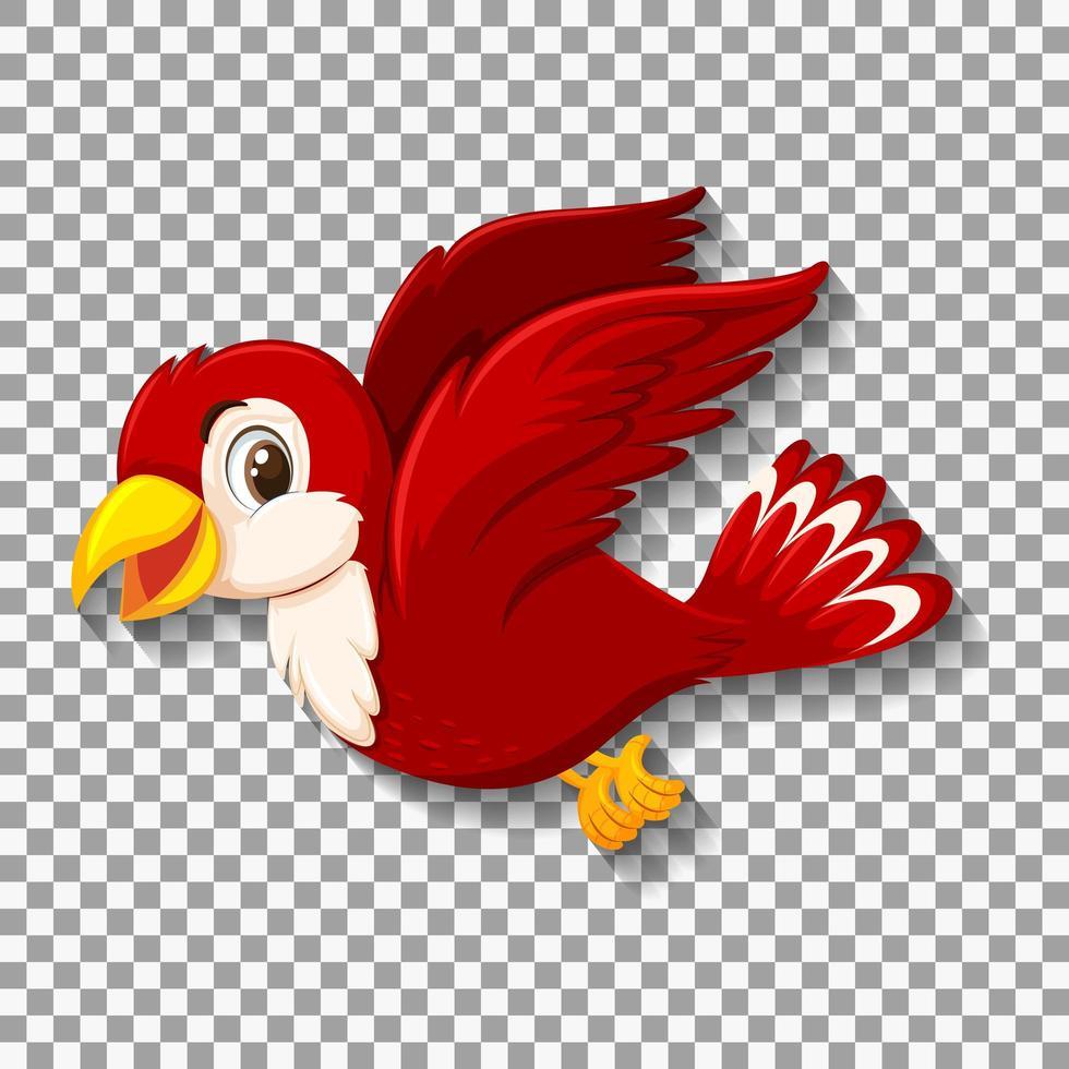 söt röd fågel karaktär vektor