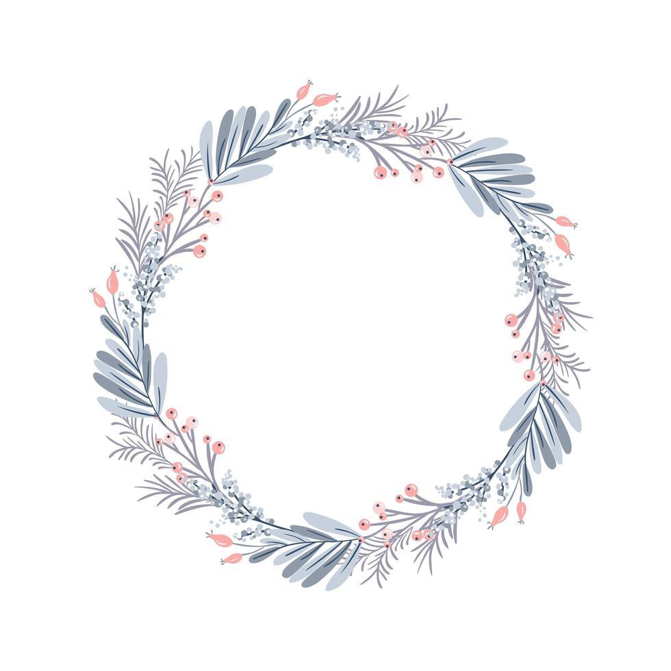 Weihnachtskranz und rote Beeren auf immergrünen Zweigen vektor