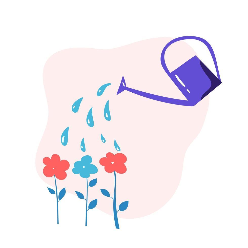 Gießkanne Blumen gießen vektor