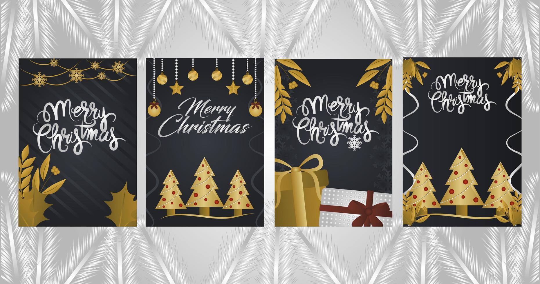 Set Deluxe Weihnachtsgrußkarten vektor