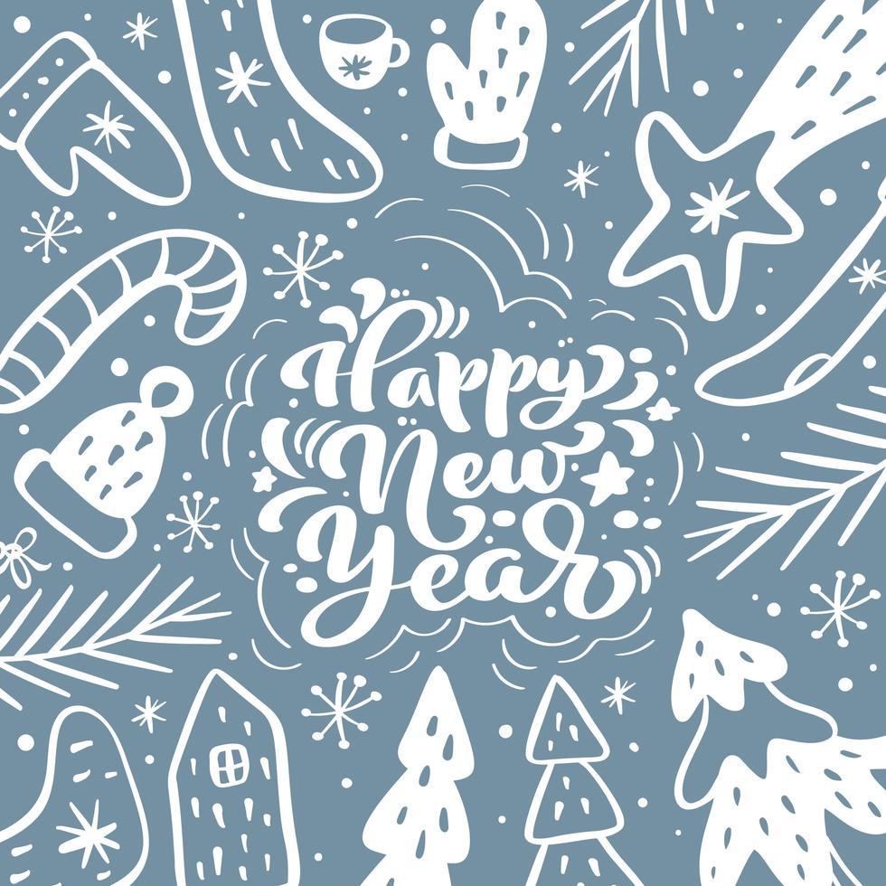 gott nytt år kalligrafiska bokstäver handskriven text vektor