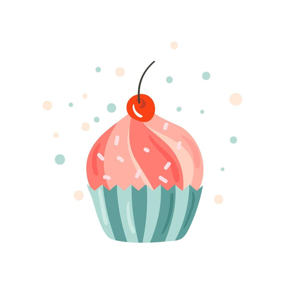 färgglada cupcake party design vektor
