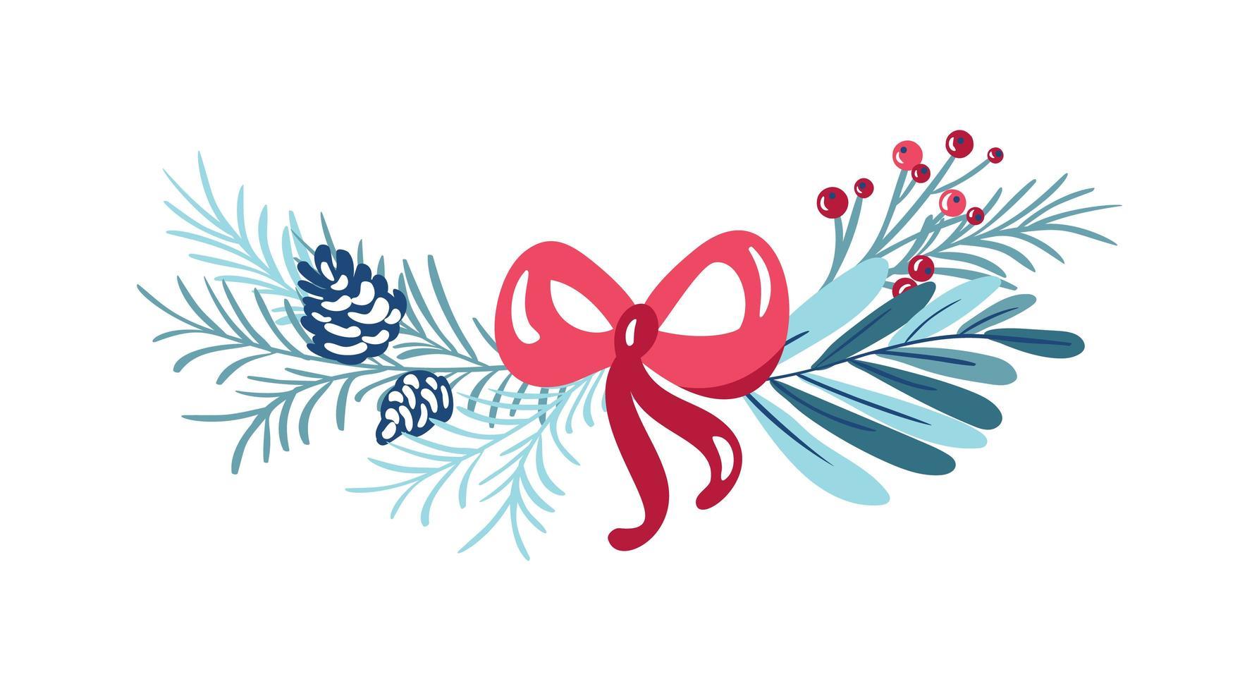 jul blommig bukett med bär och rosett vektor