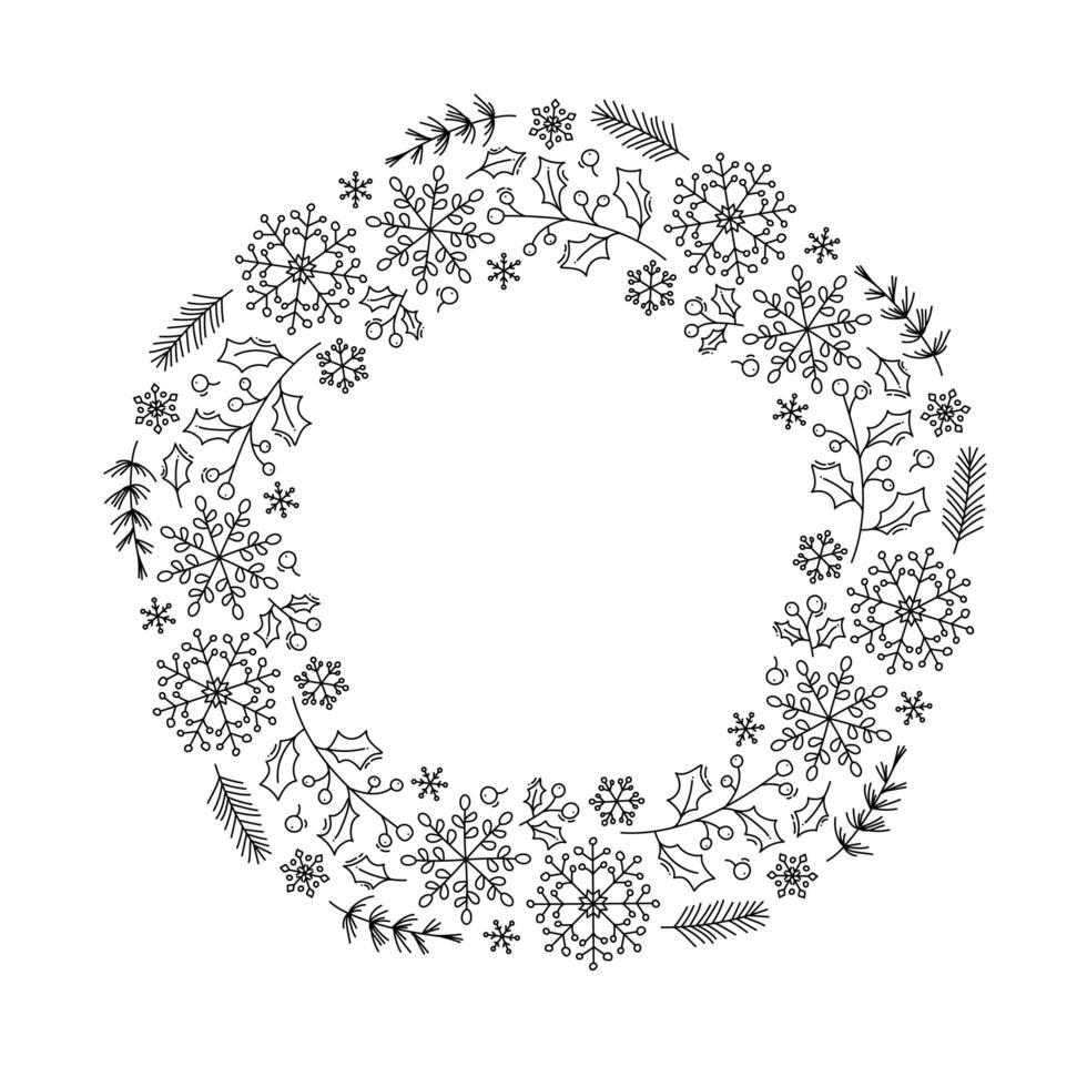 jul monoline blommig krans vektor