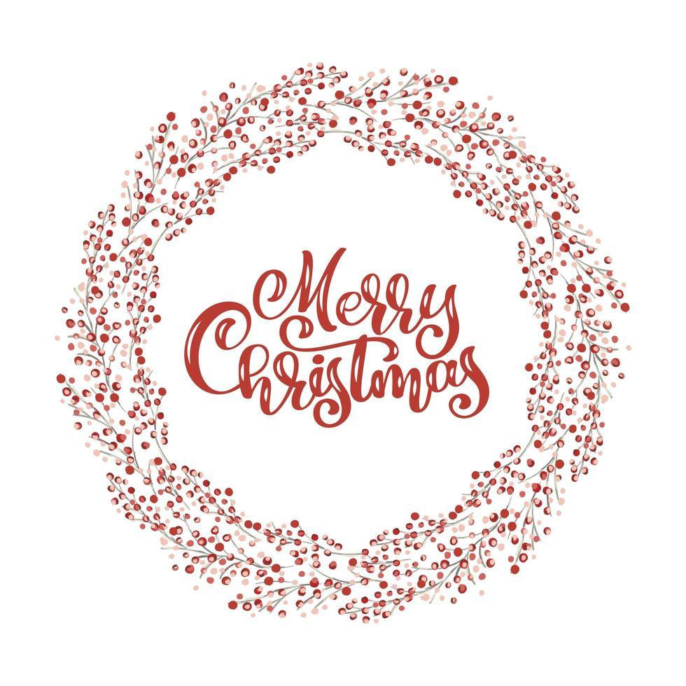 roter Weihnachtskranz mit Beeren mit fröhlichem Weihnachtstext vektor