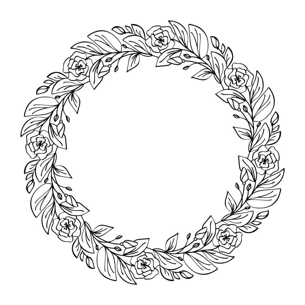 rund kalligrafisk bröllop ram krans vektor