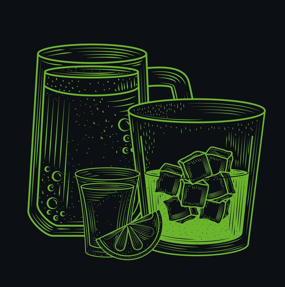 Cocktailgetränke Line-Art-Komposition vektor