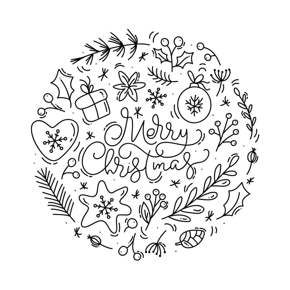 Frohe Weihnachten kalligraphische Beschriftung mit Winterelementen vektor