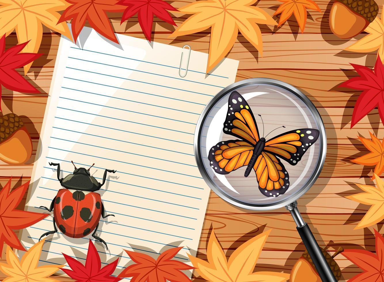 Holztisch mit leerem Papier und Insekten vektor