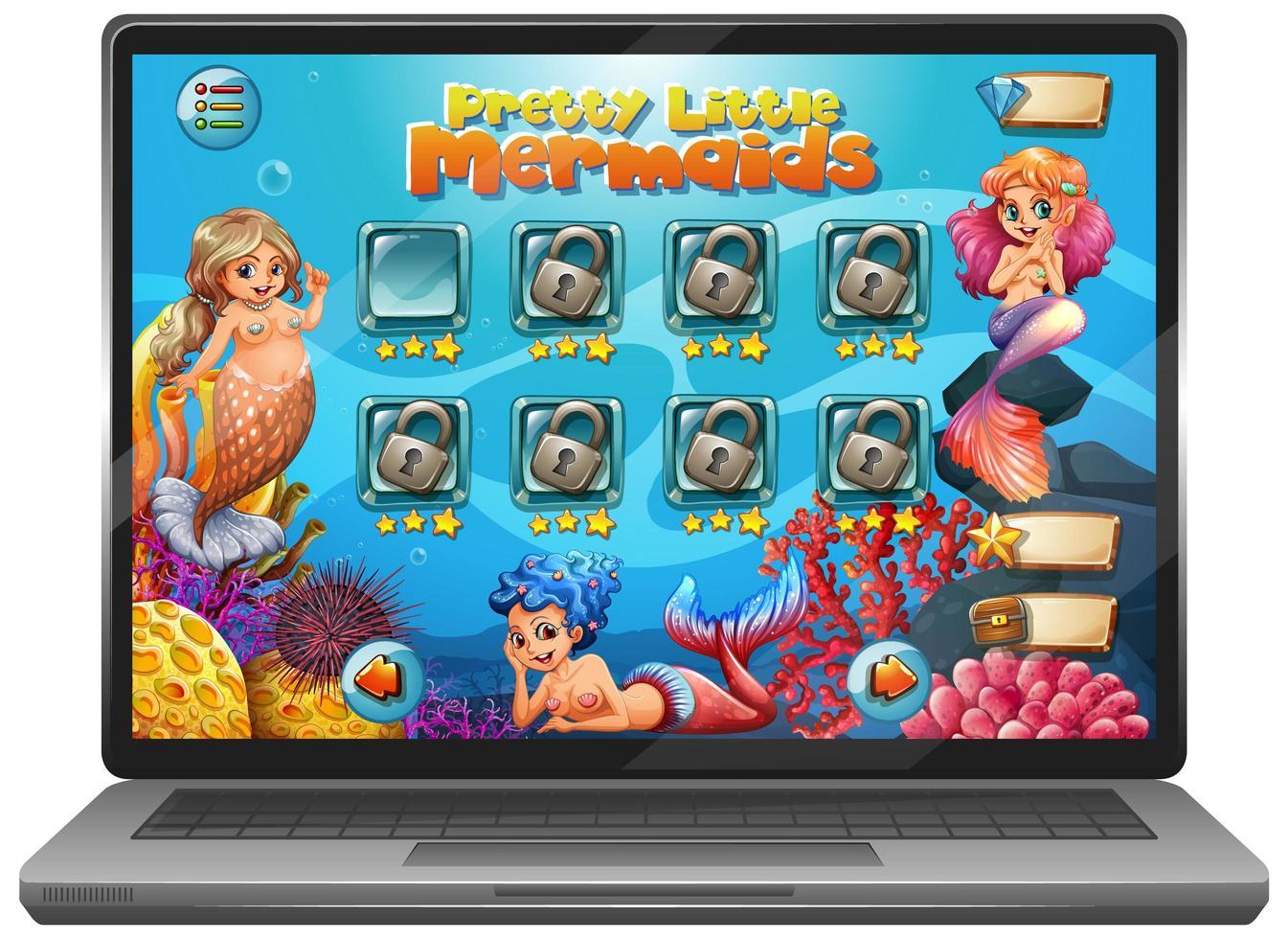 Meerjungfrau Spiel auf Laptop-Bildschirm vektor