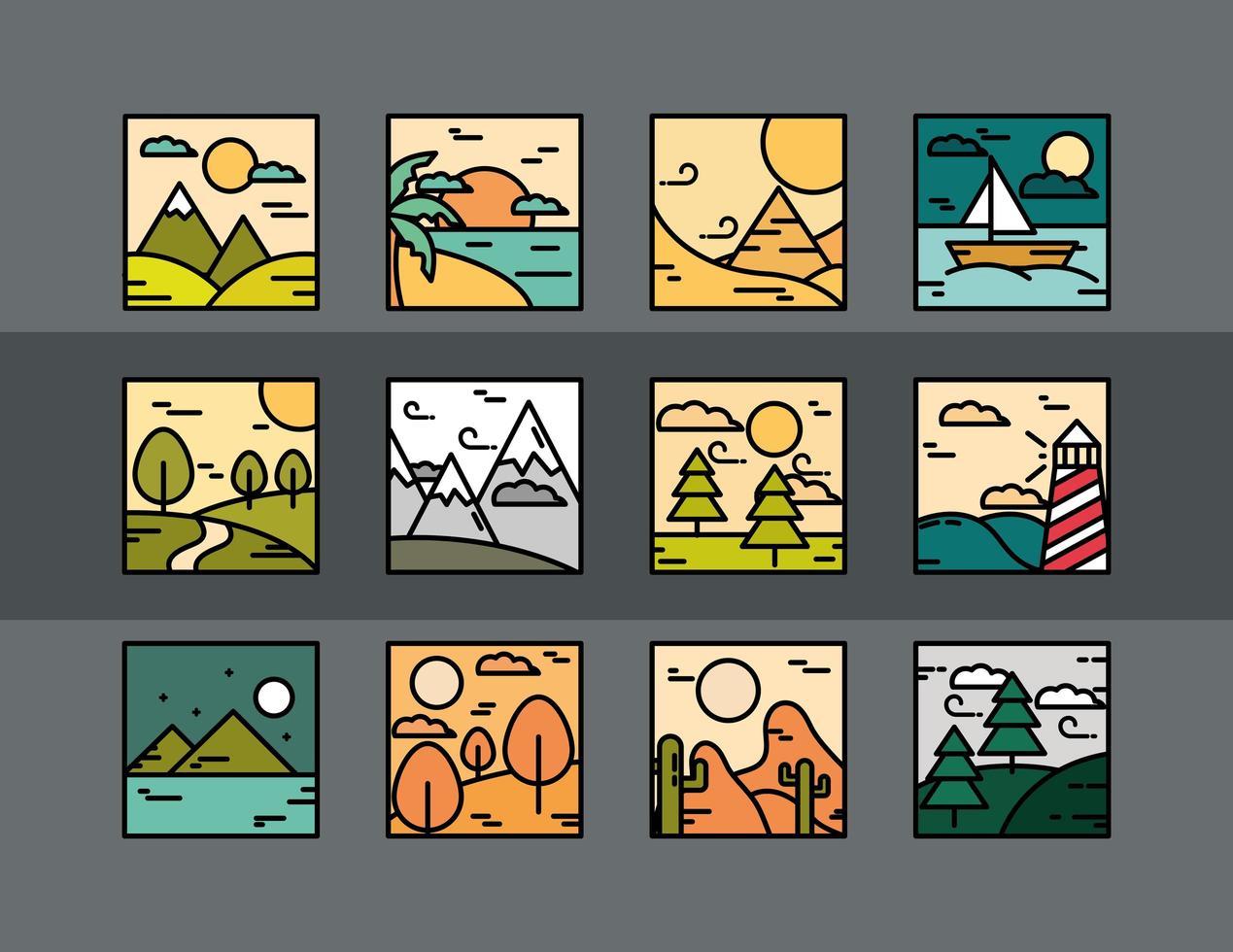 fyrkantiga landskap ikon samling vektor