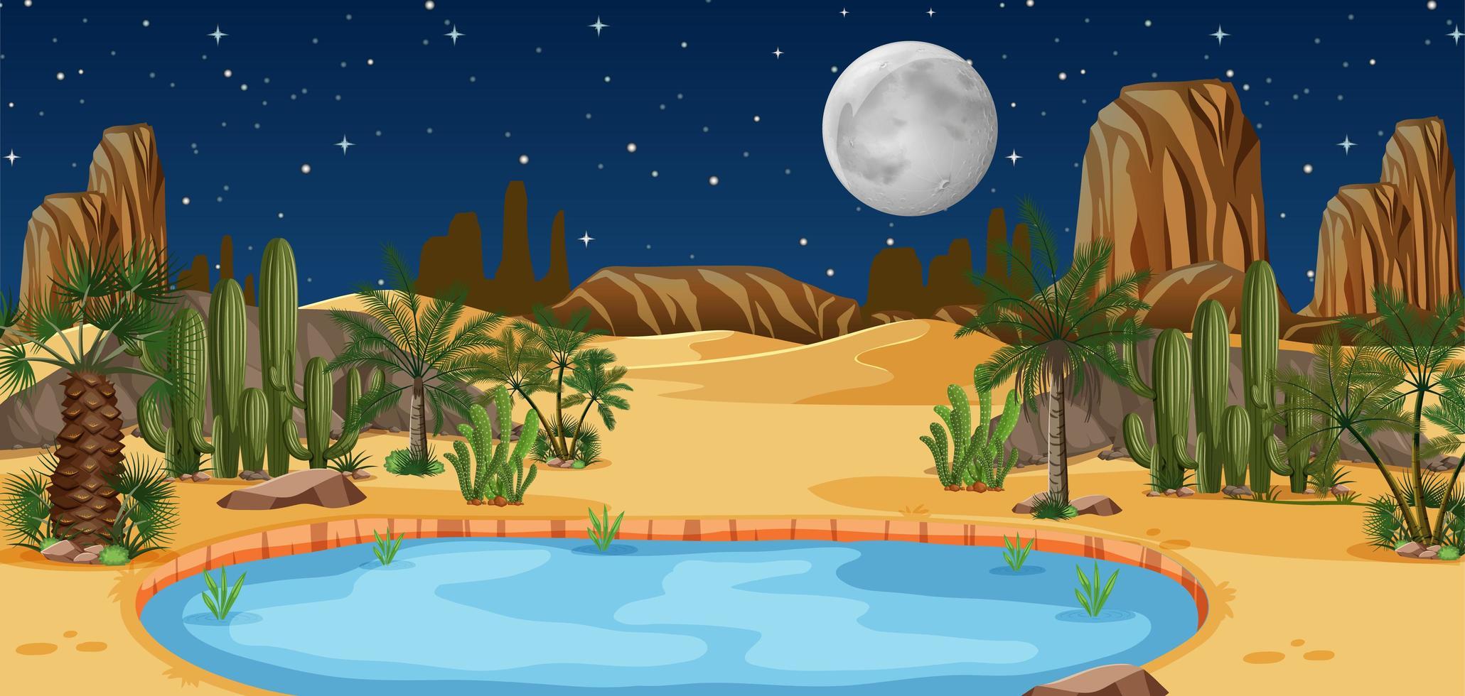 Wüstenoase mit Palmen und Kaktus-Naturlandschaft vektor