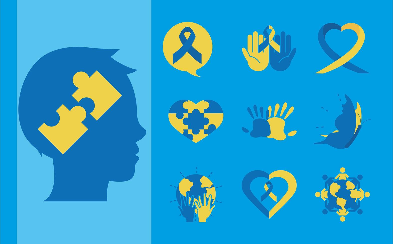 World Down Syndrom Tag Piktogramm Icon Set vektor