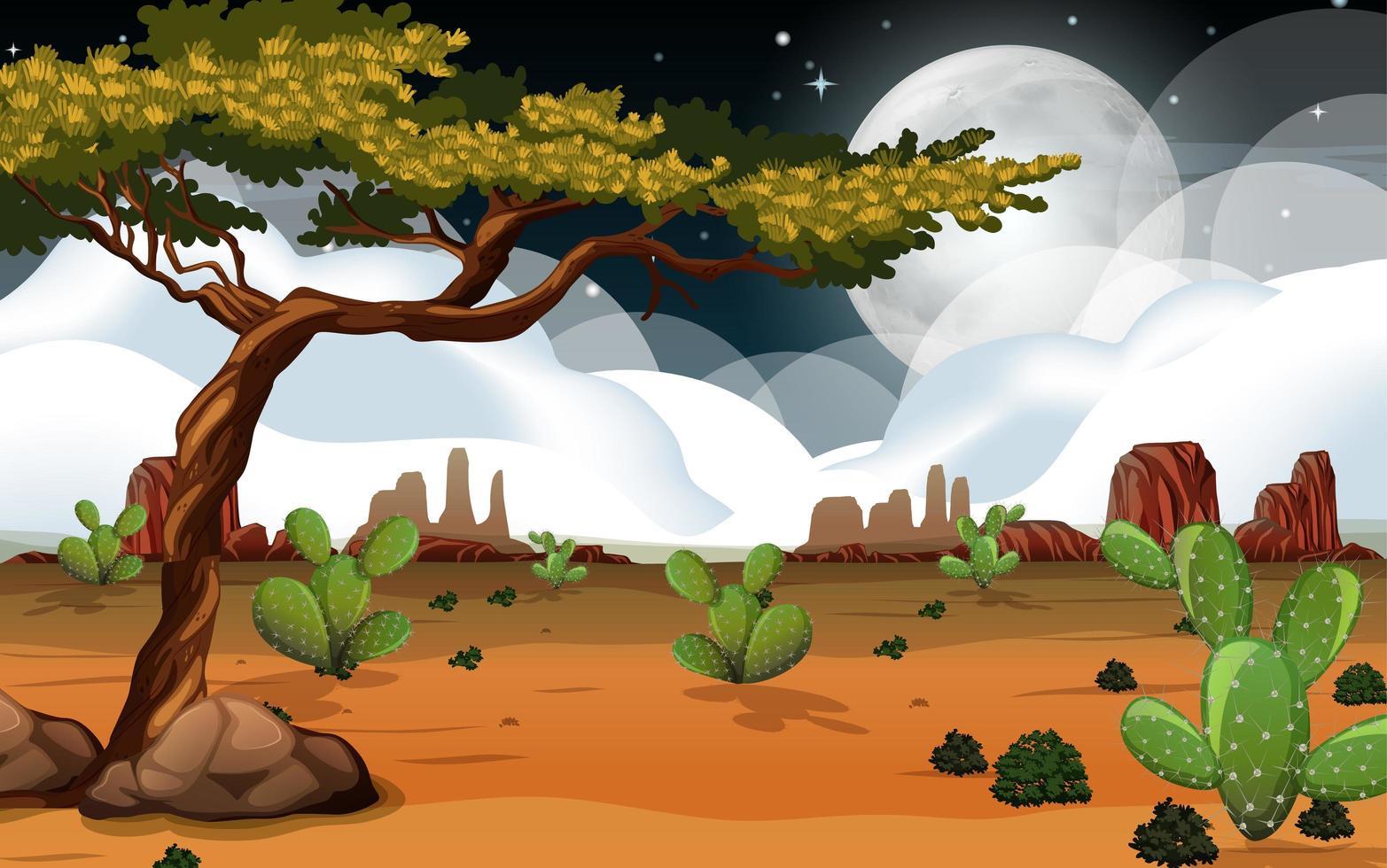 wilde Wüstenlandschaft in der Nacht vektor