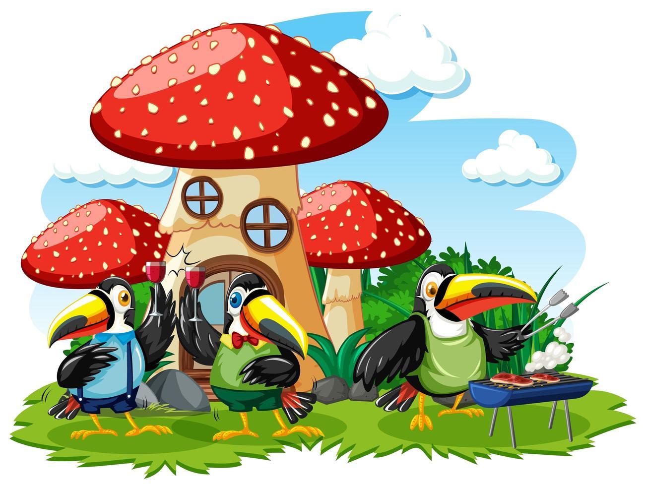 Pilzhaus mit drei Vogelkarikaturart vektor