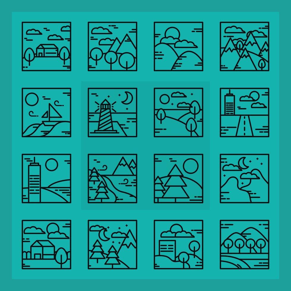 fyrkantiga landskap kontur ikon samling vektor