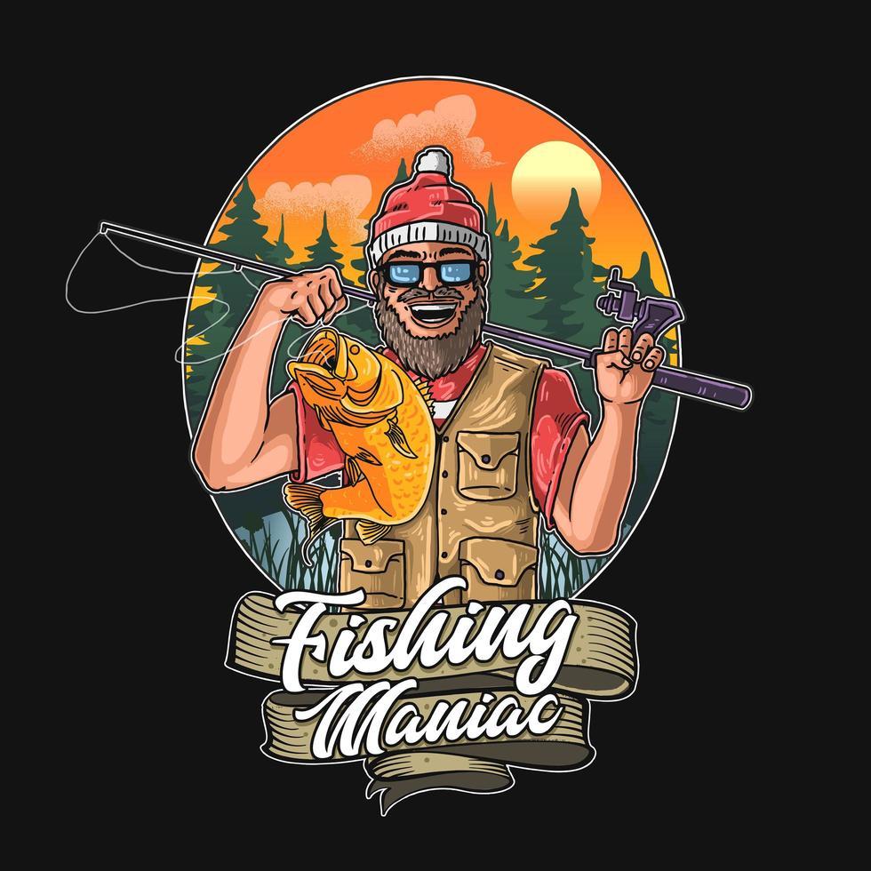 fiske galning grafik vektor