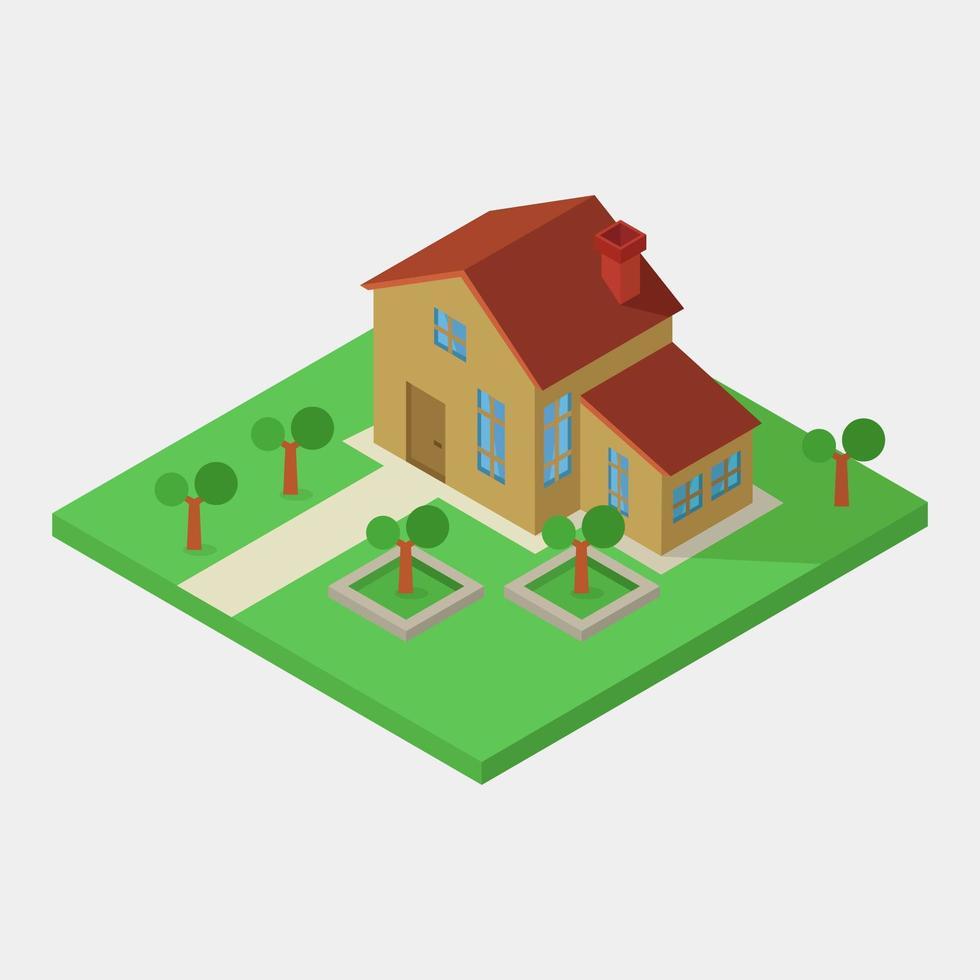 isometriskt hus på vitt vektor