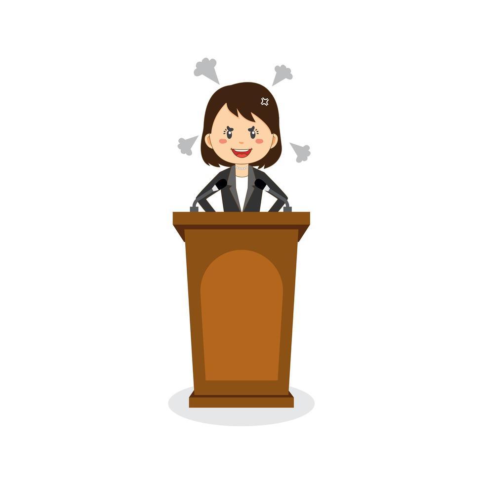Geschäftsfrau Charakter spricht auf dem Podium vektor