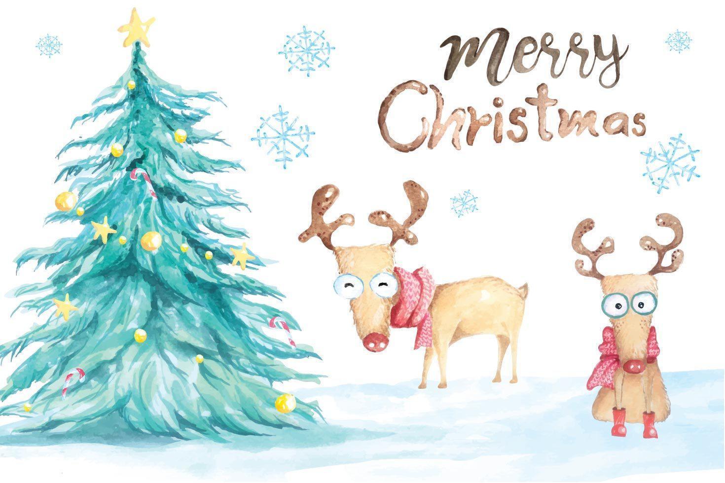 julgran och ren målad med akvarell vektor