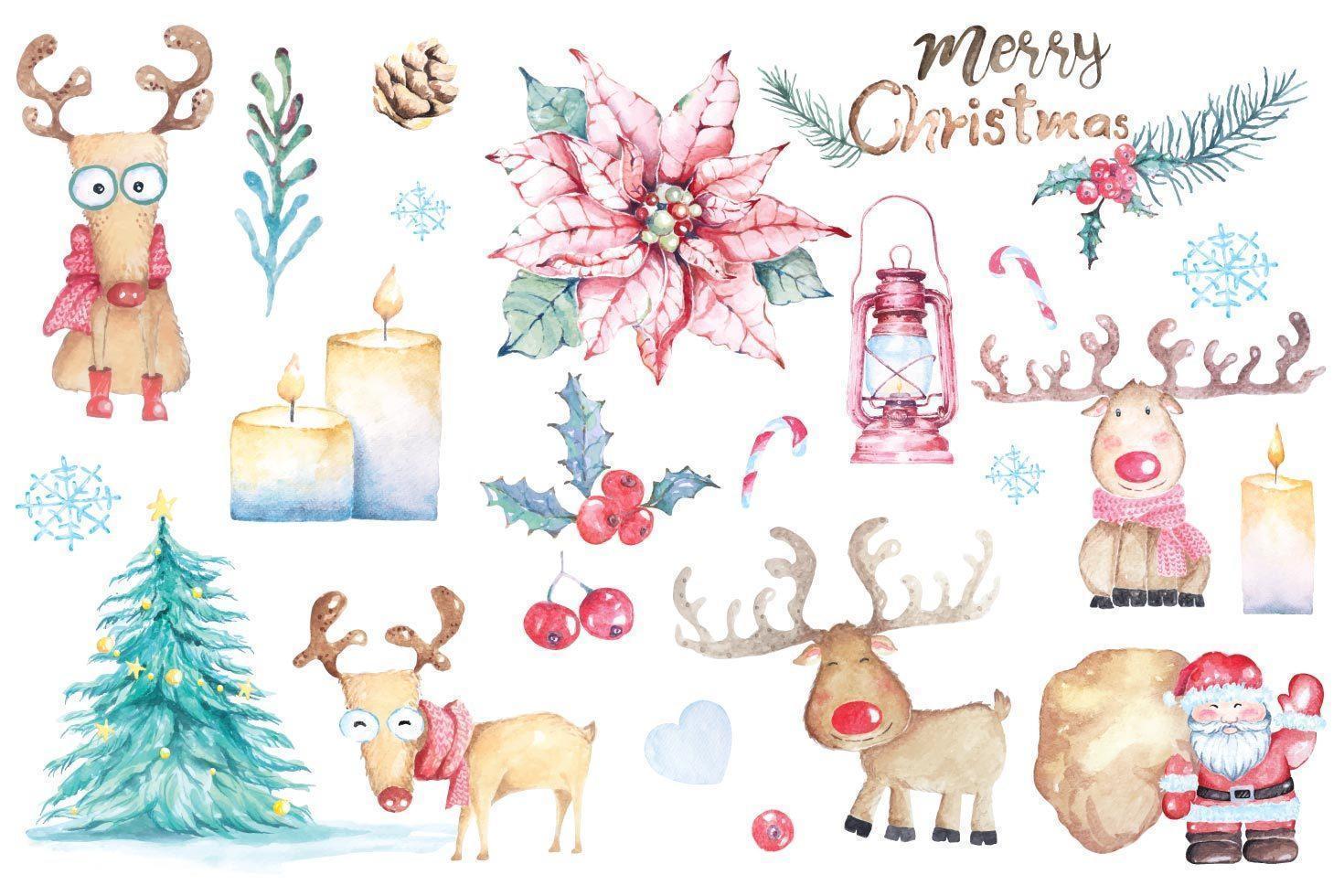 juldekorationer målade med akvarell vektor