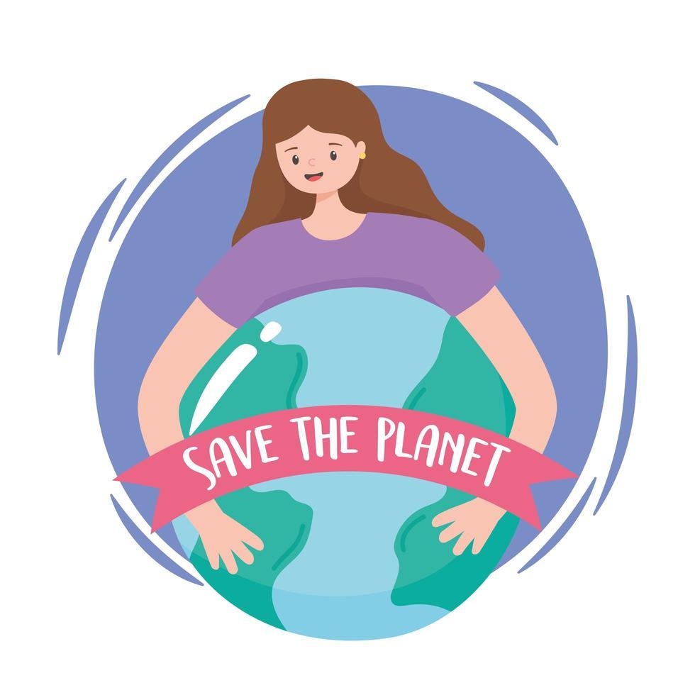 ung kvinna kramar jorden med rädda planetbannern vektor