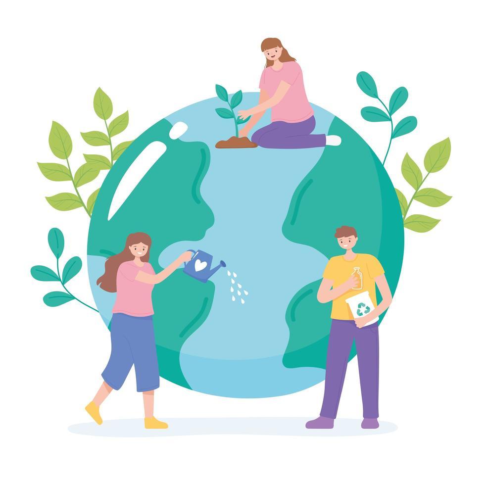 människor som tar hand om jorden genom återvinning, vattning och plantering vektor