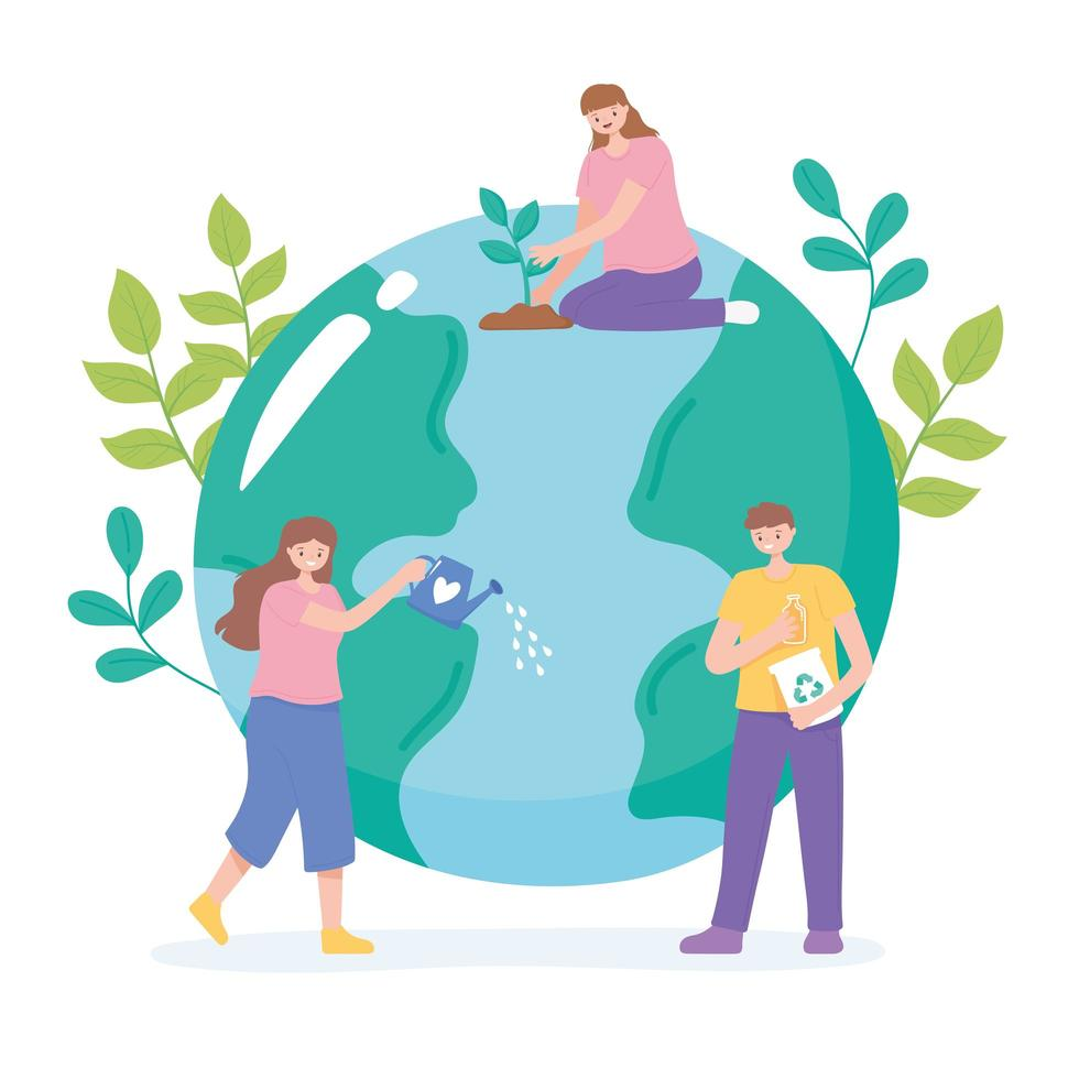 Menschen, die sich durch Recycling, Bewässerung und Pflanzen um die Erde kümmern vektor