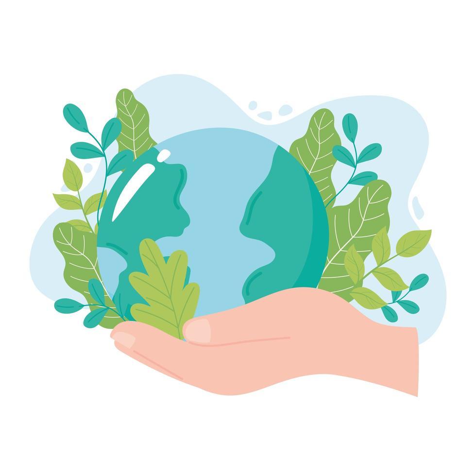 rädda planeten, handen håller jorden med löv vektor
