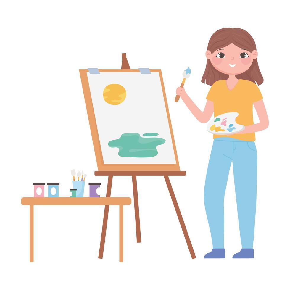 Mädchen malt auf Leinwand mit Pinsel und Farbpalette vektor