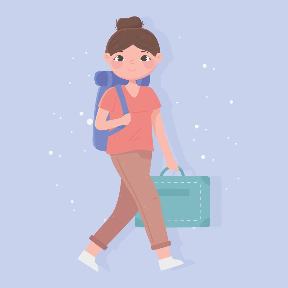 ung kvinna turist med ryggsäck och mapp vektor
