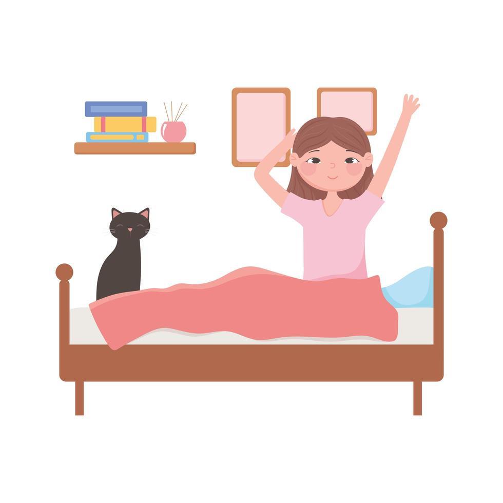 Frau wacht mit Katze auf dem Bett auf vektor