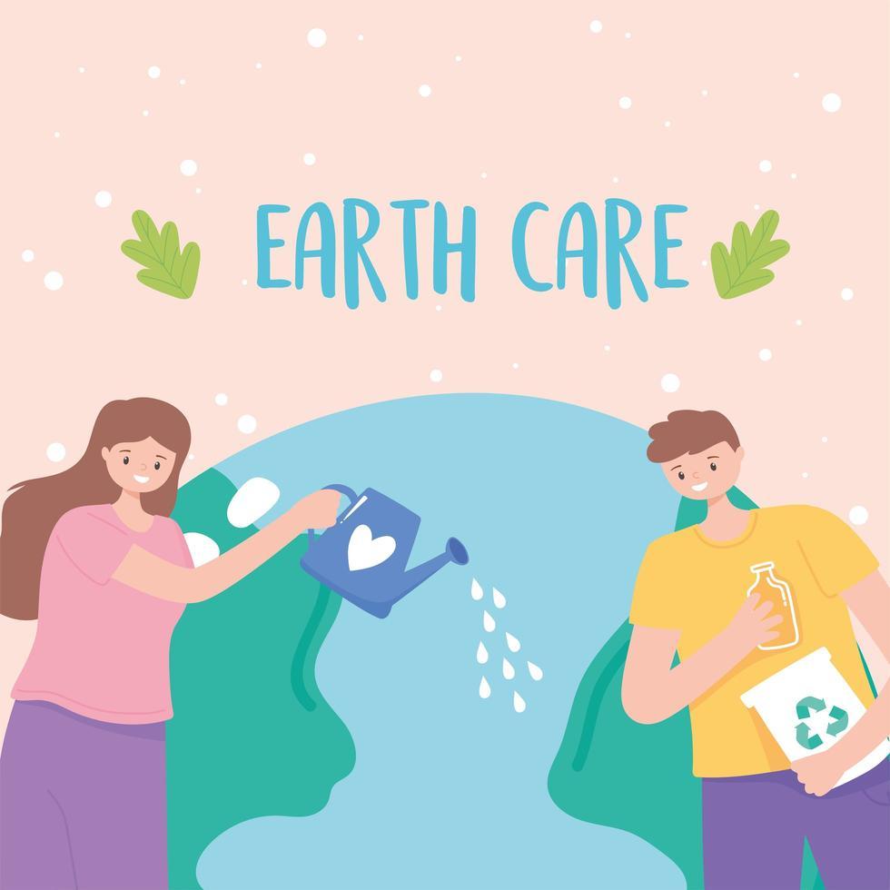 flicka med vattenkanna och pojke med återvinningsprodukter vektor