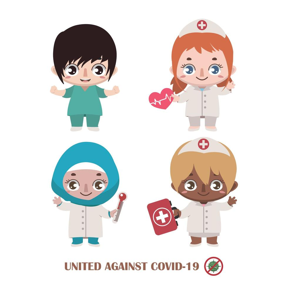 Team verschiedener Krankenschwestern im Kampf gegen Covid-19 vektor