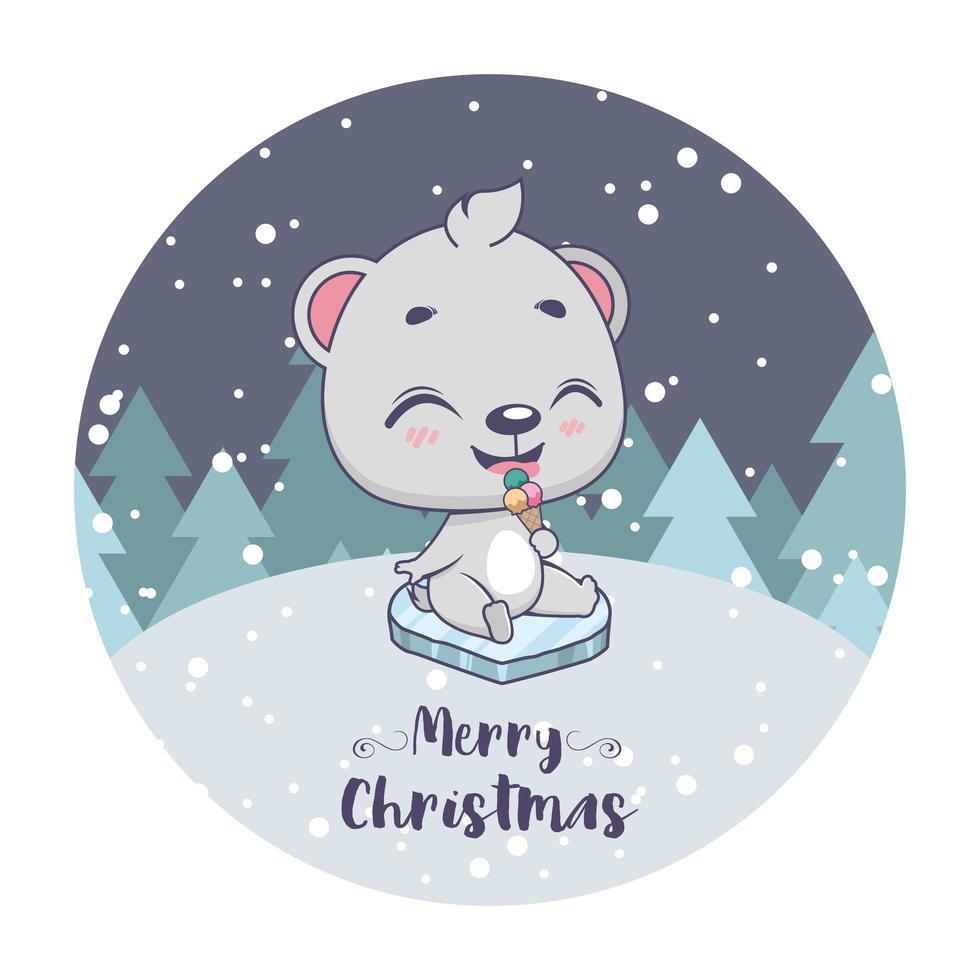 Weihnachtsgruß mit niedlichem kleinen Eisbären vektor