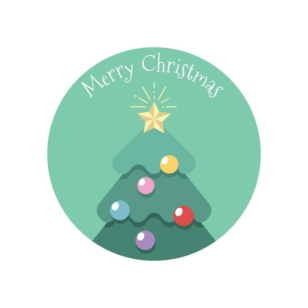 enkel stiliserad julhälsning med träd vektor