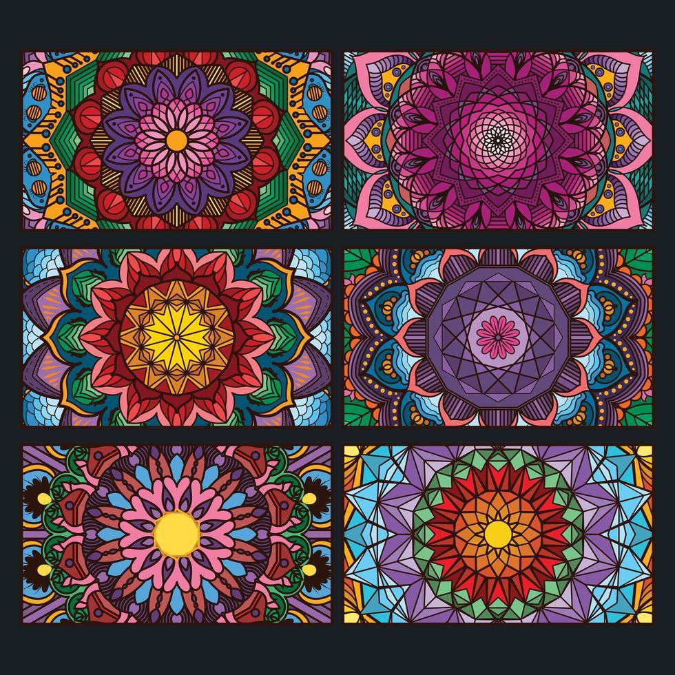 färgglada dekorativa mandala bannersamling vektor