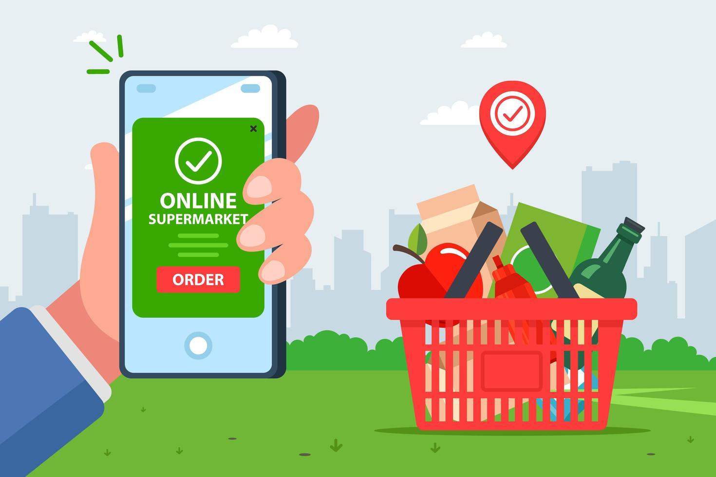 Hand mit Smartphone für Bestellung auf App bezahlen vektor