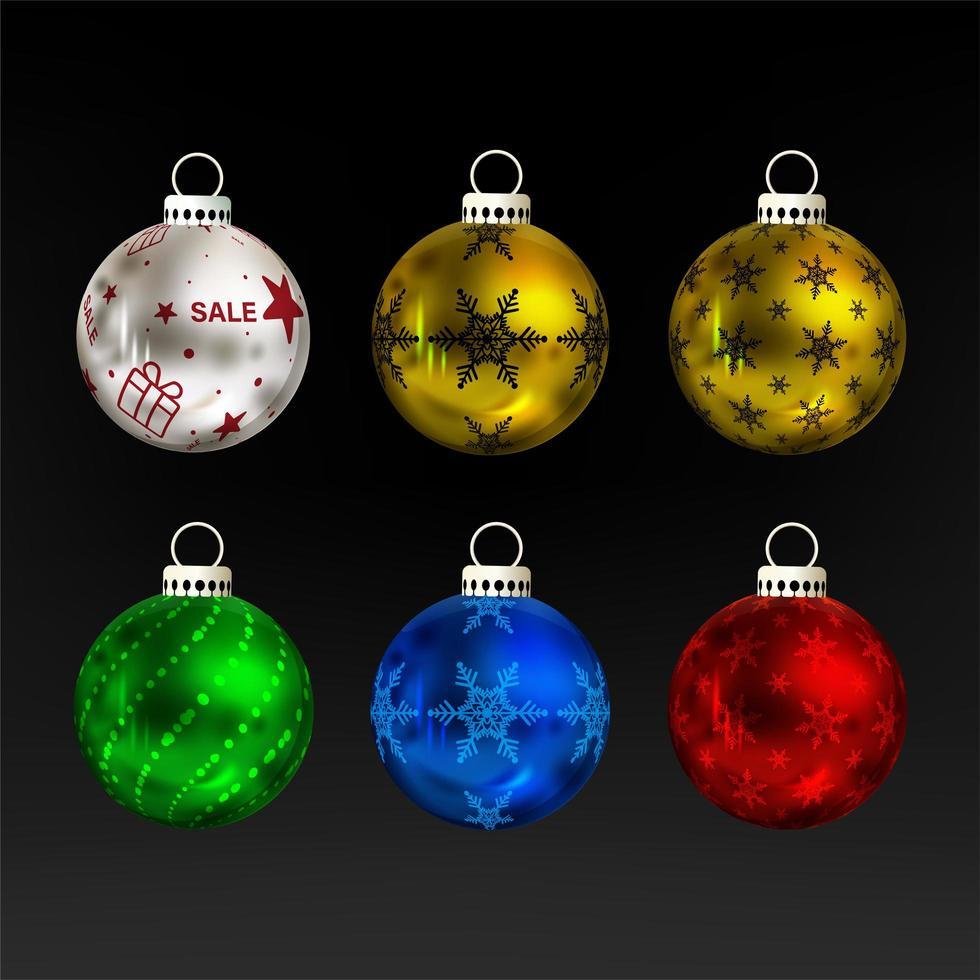 färgglada jul boll prydnad set vektor