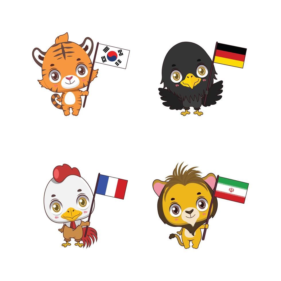 söta nationella djur med deras landsflaggor vektor