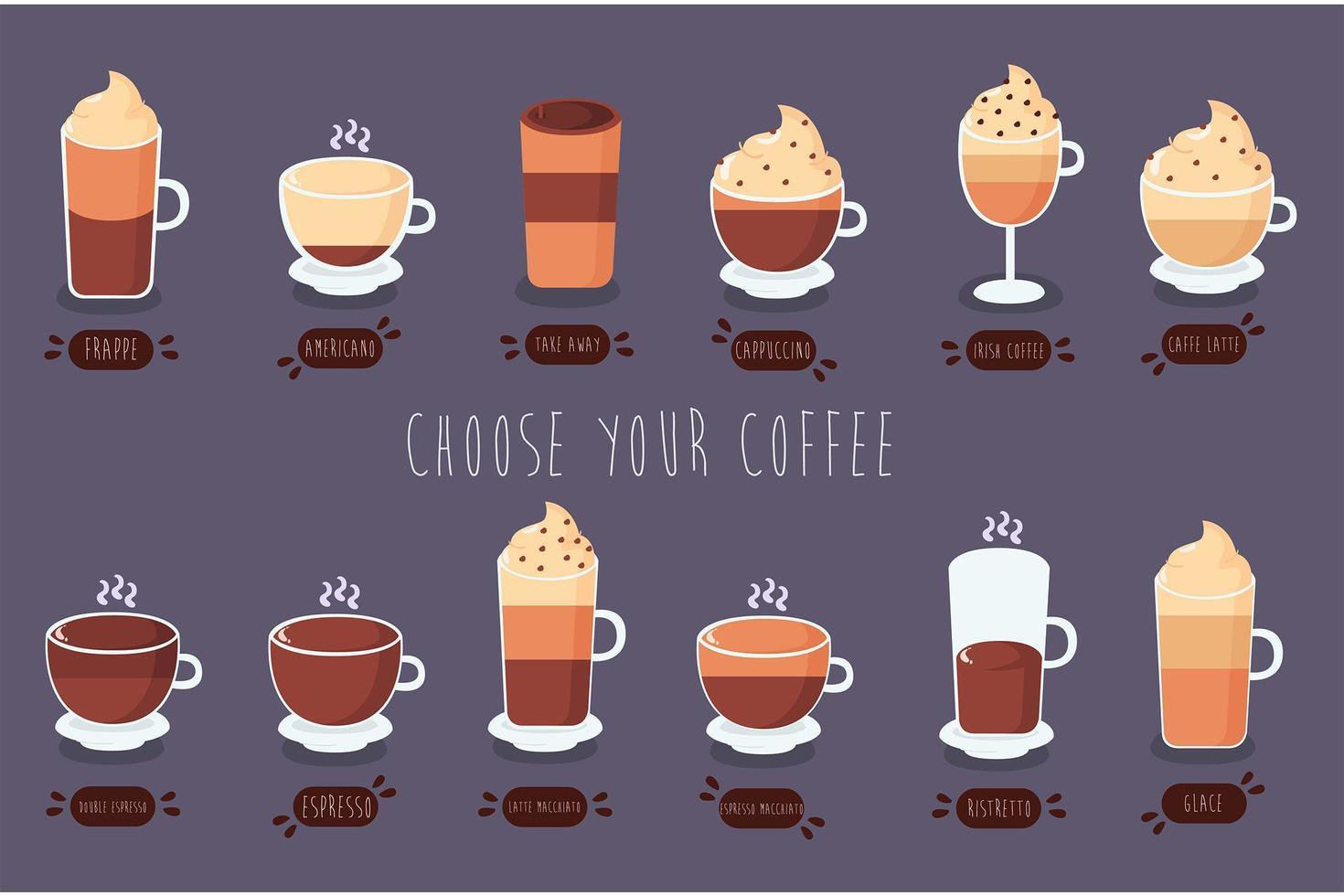 Kaffeesorten packen vektor