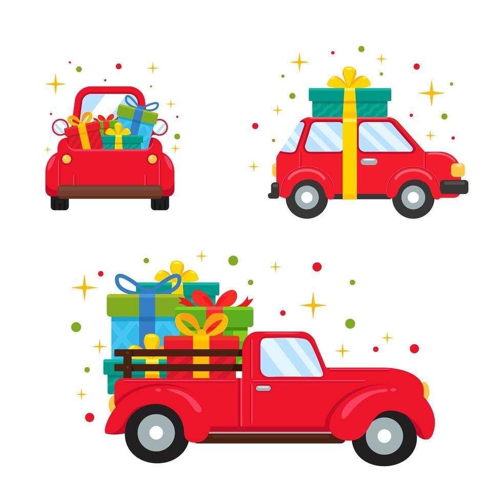 rote Fahrzeuge mit großen Geschenkboxen vektor