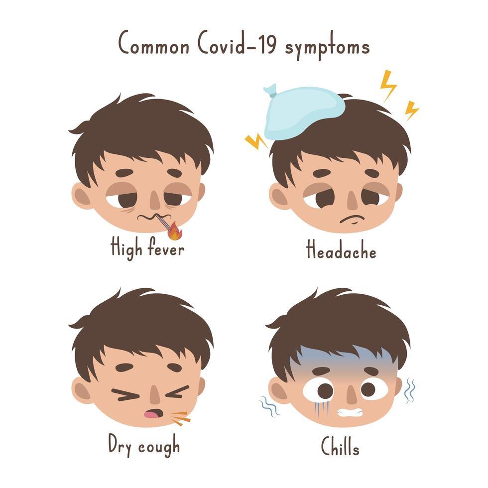 vanlig design av koronavirus symptom vektor