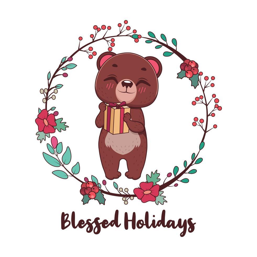 gesegnete Feiertagsgrüße mit niedlichem Bären und Kranz vektor